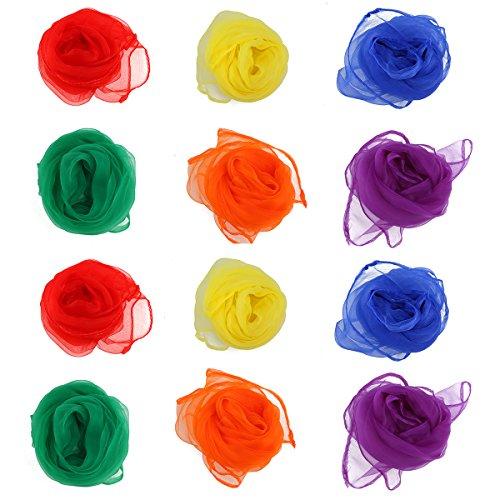 NUOLUX Gesaeumte Quadrat Schal Rhythmus magische Tanz mehrfarbigen Schals (Satz 12)