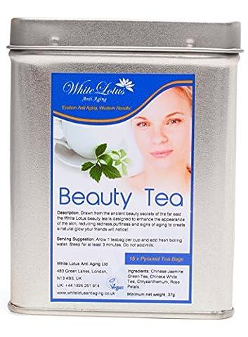 White Lotus Anti Aging-Beauty Tea- White Tea, Jasmine Green Tea, Chrysanthemum & Rose Petals- Premium quality Pyramid Tea Bags / Vacuum Sealed in Beautiful Metal Tin- BY The ANTI AGING EXPERTS 15 Bags