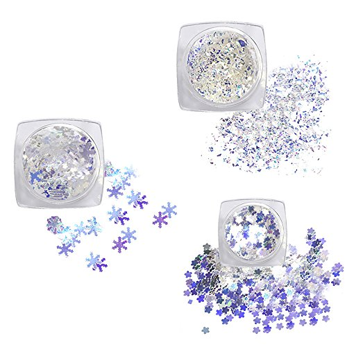 Paillettes Nail Art Tips,3Pcs