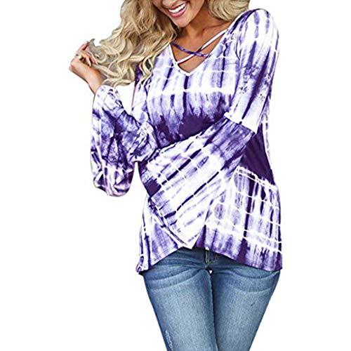 """KUDICO Damen Casual Tops Lange Bell Flare Ã""""rmel T-Shirt Criss Cross Bluse V-Ausschnitt Pullover Tie Dye Shirt(Lila, EU-40/CN-XL)"""