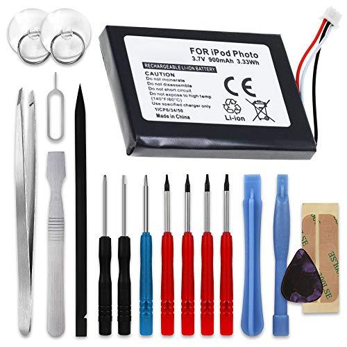 subtel® Qualitäts Akku kompatibel mit Apple iPod 4. Generation Photo - A1059 A1099, 616-0183 900mAh inkl. Werkzeug-Set Ersatzakku Batterie 4. Generation Ipod Photo
