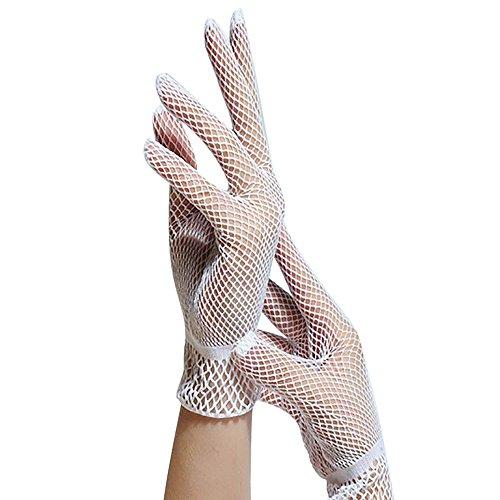 CLOOM Fischnetz Handschuhe Hochzeit Netze Mesh Handschuhe Sonnenschutz Handschuhe Performance Hochzeit Handschuhe Damen Schöne Hochwertige Spitze Handschuhe Elegante Damen Kostüm Accessoires (Weiss)