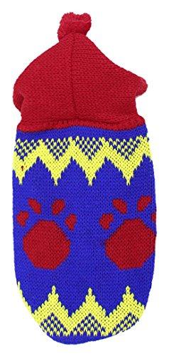 Paw Prints Hoodie (Sourcingmap Paw Print Hoodie Stricken Haustier Hund Welpen Kleidung Pullover, XS, rot/blau)