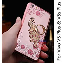 KC Bling Beautiful Peacock Rhinestone Finger Ring Holder Case 360 Degrees Finger grip for Vivo V5 Plus & Vivo V5S Plus - Rose Gold + Pink