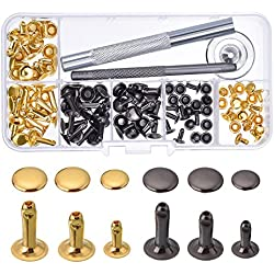 Bouton Pression Rivet Tubulaire Métal avec Kit de Fixation pour les Réparations Artisanat en Cuir Décoration, 3 Tailles, 60 Set