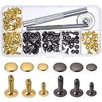 Nieten Einzelkappe Niete Tubular Metall Hohlnieten mit Befestigung Werkzeug Kit für Leder Handwerk Reparaturen Dekoration, 3 Größen, 60 Set