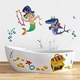 Rawpockets 'Kids Room Mermaid Treasure Hunt' Wall Sticker (PVC Vinyl, 0.99 cm x 120 cm x 100 cm)