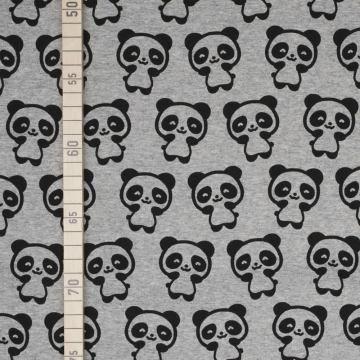 v: Panda - Schwarz auf Grau - French Terry (Diy Panda Kostüme)