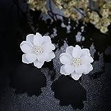 wanmanee Simuliert Pearl Big Weiß Rose Ohrstecker Blume Inlay Perlen Schmuck Geschenk Hot
