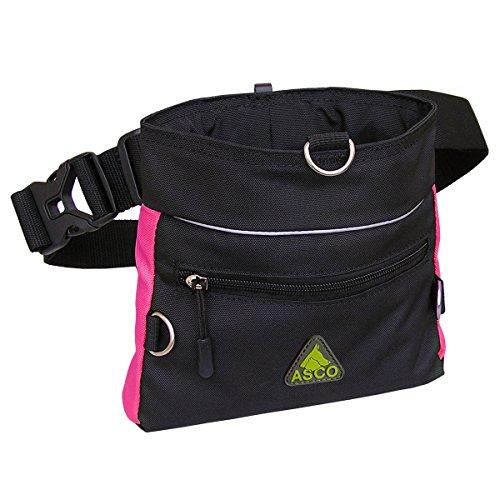 ASCO Futterbeutel, Leckerlibeutel für Hunde, Pferde mit Einhand-Schnappverschluss, 20x20cm, Premium Futtertasche pink AC68TB