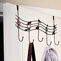 Door Music Hanger Rack Metal Notes Wall Hooks for Home Orgnaizer Hanging Clothes Coats hat key Save Space Hook(red copper)