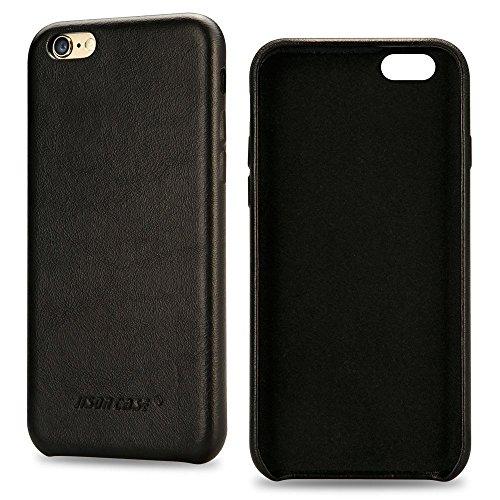JISONCASE iPhone 6 6s Hülle in Farbe schwarz, aus echtem Leder, Zubehör für iPhone 6s 6 Smartphone (4,7 Zoll (11,9 cm), Lederhülle, JS-I6S-02A10