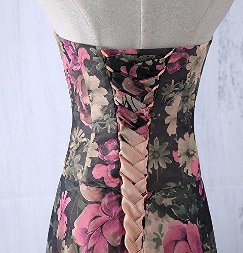 abito da cerimonia donna in chiffon damigella vestito lungo elegante  floreale da festa party-Pink peach -L(busto 92cm) 33d5af03b56