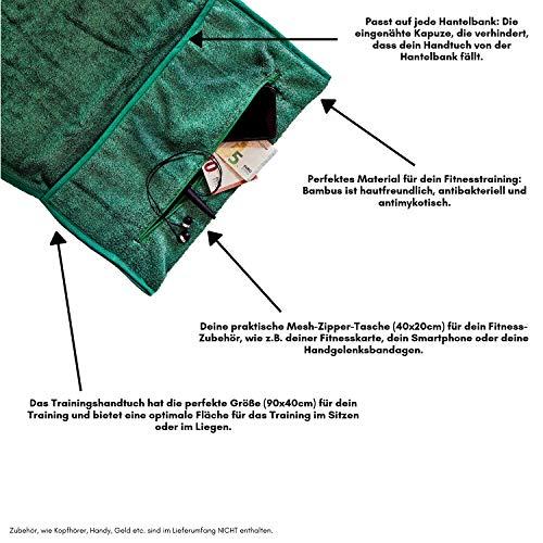 Bear bambus Fitnesshandtuch aus Bambus (grün) mit kostenlosem 24-Seiten-starken Trainingsguide (PDF); ideale Größe für Dein Fitnesstraining (90 x 40 cm) -