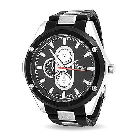 Bling Jewelry Mens cadran noir Chronographe Dos en acier de bande en Silicone Watch