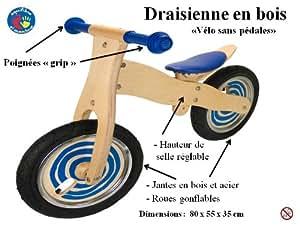 Draisienne bleue en bois, vélo sans pédales