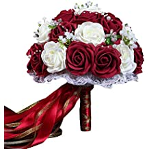 b829330e38de Ramo de Flores Artificiales Bouquet Nupcial de Boda Rosas Flores de Novia  para Decoración Banquete de