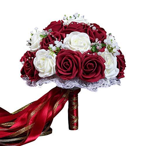Godagoda Fiore Matrimonio Bouquets di Matrimonio Bouquet da Sposa Perle Fiori Artificiali Decorazione Accessori Pizzo Rouge Vin Blanc Taglia Unica