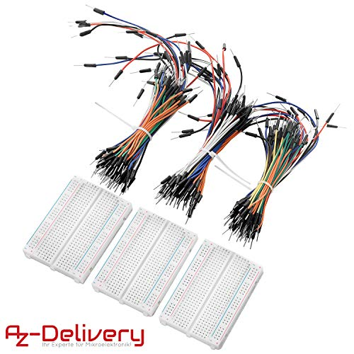 AZDelivery Breadboard Kit - 3 x 65Stk. Jumper Wire Kabel M2M und 3 x Mini Breadboard 400 Pins für Arduino, Raspberry Pi