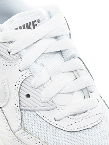 Nike Air Max 90 Mesh (Ps), Chaussures Mixte Bébé Blanc / Gris (White / White-Cool Grey)
