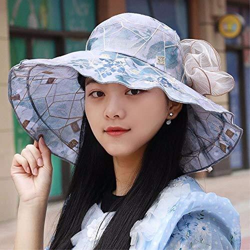 FERZA-hat Home Hat der Retro-Blumenvisier des Mädchens herrlicher Strandkappenlotus die Grenze der Huthüte kühlen Hüte ab (Color : The Blue) -