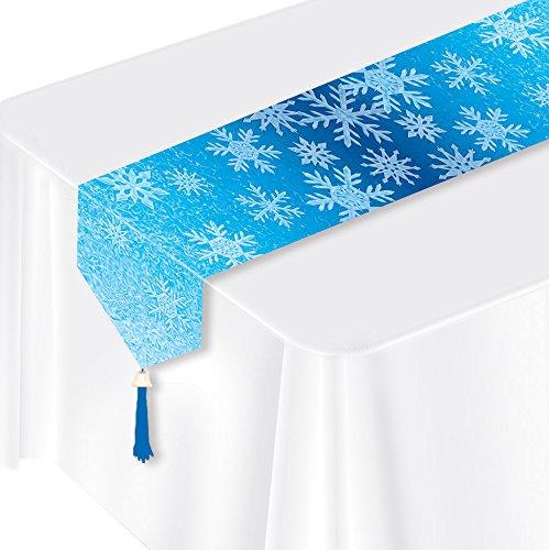 ckt Schneeflocken Tischläufer, 27,9cm X 6', blau/hellblau/weiß ()