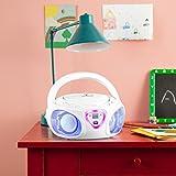 auna Roadie • CD-Radio • Stereoanlage • Boombox • CD-Player • USB-Port • MP3 • UKW- / MW-Radiotuner • Bluetooth 2.1 / EDR • 3,5-mm-Cinch-Klinke-AUX-Eingang • mehrfarbige LED-Beleuchtung • 2 x 1,5 Watt RMS-Leistung • Netz- und Batterie-Betrieb • weiß - 2