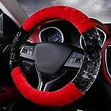 #7: NIKAVI Fur Car Steering Wheel Cover (RED)