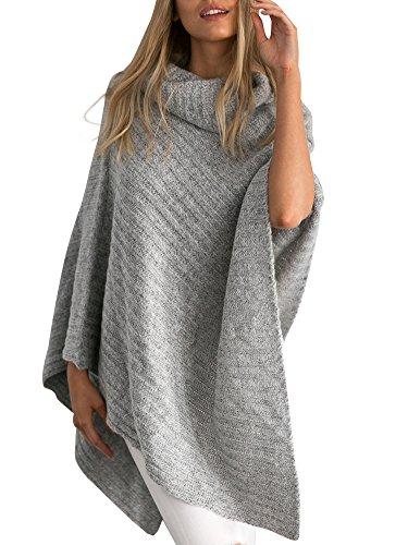 Simplee Apparel Donne Autunno Inverno elegante bordo irregolare Turtleneck Capo Poncho Maglione grigio