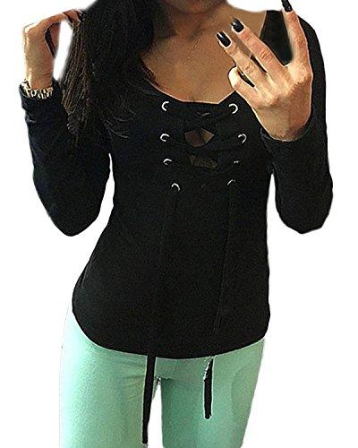 ZANZEA Femmes Sexy Col V Bandage Blouse Manches Longues Casual Slim Fit T-Shirt Hauts Tops Eté Tee Noir