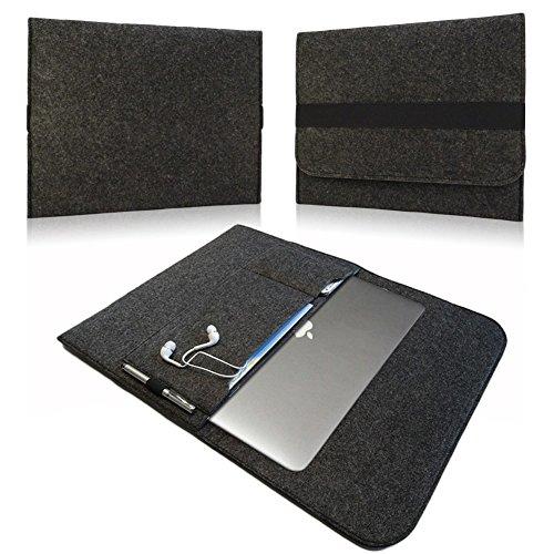 NAUC Medion Akoya E2215T Tasche Hülle Notebook Filz Cover Case Sleeve dunkel Grau