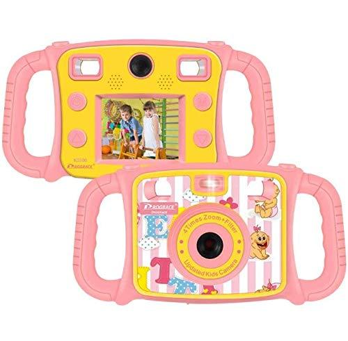 DROGRACE Cámara Infantil 1080P HD Digital Foto/Videocámara Selfie Dual Cámara con 4X Zoom, Flash Lights, LCD de 2 Pulgadas y Resistente a Las caídas para niños niñas cumpleaños Rosa
