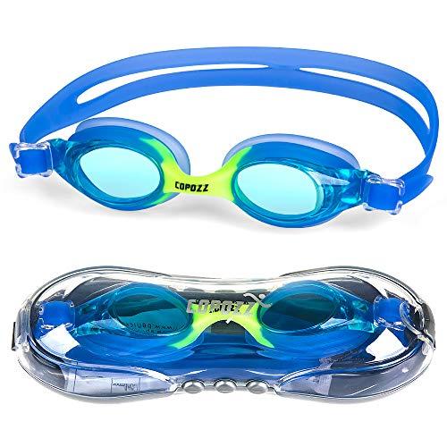 Copozz Kinder Schwimmbrille, Swim Schwimmbrille für Kinder Junior Jungen Mädchen - Alter 3 4 5 6 7 8 9 10 11 12 Jahre - Anti Nebel UV-Schutz kein Leck - Spiegel/Clear Lens (#2-Blau)