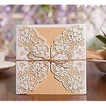 EinladungsKarten Hochzeitskarten Glückwunschkarten, 50 Stück DIKETE [Hohle  Hülse+Kraftpapier Blanko+Hanfseil Schleife