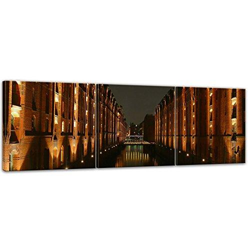 Kunstdruck - Hamburger Speicherstadt - Bild auf Leinwand - 180 x 60 cm 3tlg - Leinwandbilder - Bilder als Leinwanddruck - Wandbild von Bilderdepot24 - Städte & Kulturen - Europa - Hamburg bei Nacht