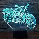 Personaggi dei cartoni animati Lampada da tavolo per la luce notturna della motocicletta 3D Informazioni sul tocco 7 Cambio di colore della luce per dormire della motocicletta Regalo del bambino Migl