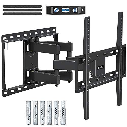 Eono by Amazon - TV Wandhalterung Schwenkbar Neigbar, Fernseher Wandhalterung mit Doppel Arm für die Meisten 26-55 Zoll LED, LCD, OLED, Plasma TVs bis zu VESA 400x400mm und 45kg, inkl. Fischer Dübel