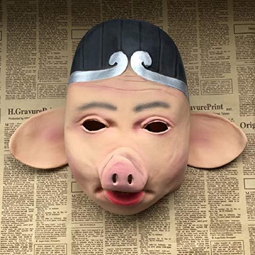 Für Maskottchen Kostüm Erwachsene Schwein - VAWAA Chinesische Klassische Schwein Charakter Maskottchen Dekoration Halloween Lustige Cosplay Latex Maske Beängstigend Säge Schwein Maske Witz Tier Requisiten