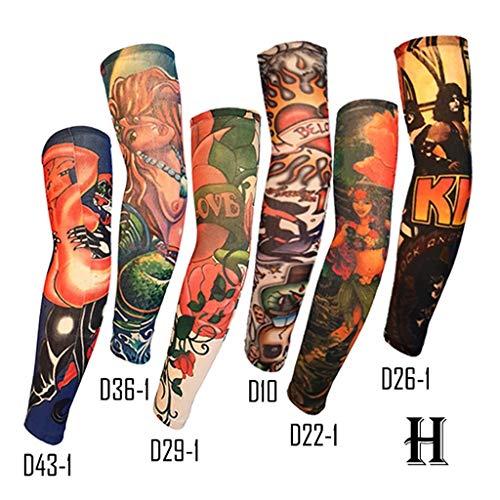 Armstulpen, Ice Silk Sonnencreme Manschette Reiten Outdoor Flower Arm Tattoo Tattoo, Angeln Ärmel 6 Stück