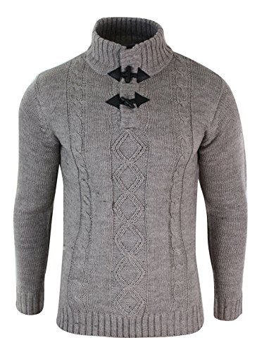 Pull sweat homme col haut tricot épais couleurs hivernales style décontracté douillet Taupe