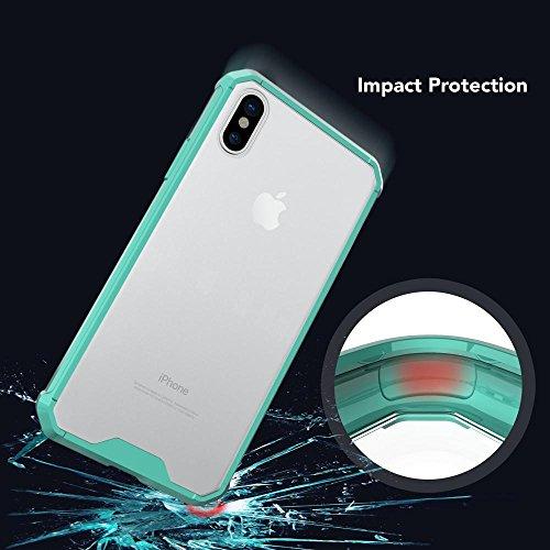 iPhone X Hülle Handyhülle von NICA, Durchsichtiges Slim Hard-Case mit Transparenter Rückseite & stoßfesten Bumper, Dünne Schutzhülle Handy-Tasche Back-Cover für Apple iPhone X, Farbe:Rose Gold Türkis