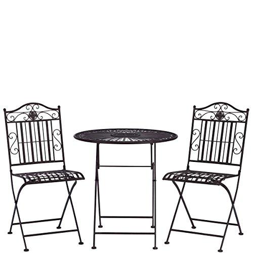 Butlers TERRACE HILL Balkonset, 3-tlg - 1 Tisch, 2 Stühle - Eisen, galvanisiert - klappbar -...