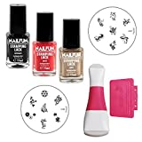 Stampingset NF51 mit KONAD Double Edge Stamp Set + Stampingschablone Konad m20 + Stampingschablone Konad m27 + NAILFUN Stampinglack schwarz 11ml + NAILFUN Stamping-Lack gold 11ml + NAILFUN Stamping Lack coral-rot