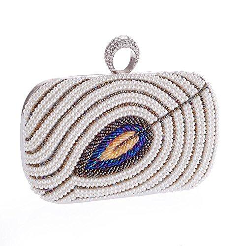 WZW Borsa del messaggero della frizione del banchetto delle donne di ricamo della perla . white white