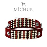 Michur PONCA Hundehalsband, Lederhalsband, Halsband, ROT, LEDER, verschieden farbige Kunstperlen, in verschiedenen Größen erhältlich