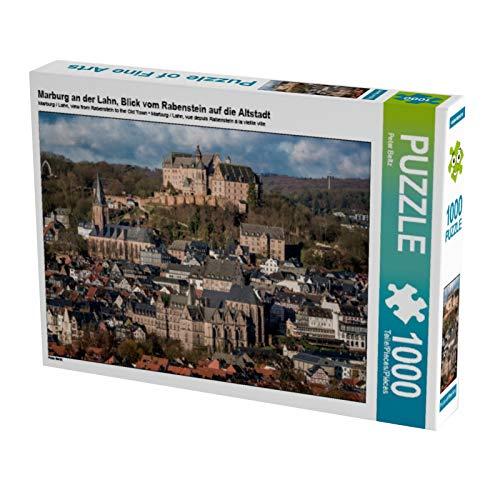 CALVENDO Puzzle Marburg an der Lahn, Blick vom Rabenstein auf die Altstadt 1000 Teile Lege-Größe 64 x 48 cm Foto-Puzzle Bild von Peter Beltz