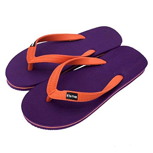 it's me Flip Flops, Größe 44.5-47, Farbe Violett/Orange| Jetzt Natur Kautschuk | Rutschfest | Superweich | Fühle Den Unterschied!