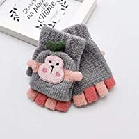 Bibao Toddler Baby Winter Warm Gloves for Kids, Cartoon Monkey Knitted Convertible Flip Top Fingerless Mittens Gloves Suit for 10-24 Months Baby, 10.5CM x5CM
