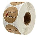 500 Stück Kraft Selbstgemacht mit Liebe Aufkleber Label Papier Abdichtung Aufkleber Etiketten Rund...