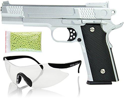 er Metall Spielzeug-Waffe Federdruck max.0,5 J im Set mit 1000 Kugeln 6 mm Munition und Schutz-Brille (Metall-pistole Airsoft)